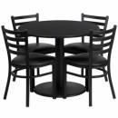 Flash Furniture 36'' Round Black Laminate Table Set with 4 Ladder Back Metal Chairs - Black Vinyl Seat [RSRB1029-GG] width=