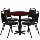Flash Furniture 36'' Round Mahogany Laminate Table Set with 4 Black Trapezoidal Back Banquet Chairs [HDBF1002-GG] width=