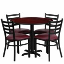 Flash Furniture 36'' Round Mahogany Laminate Table Set with 4 Ladder Back Metal Chairs - Burgundy Vinyl Seat [HDBF1006-GG] width=
