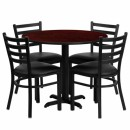 Flash Furniture 36'' Round Mahogany Laminate Table Set with 4 Ladder Back Metal Chairs - Black Vinyl Seat [HDBF1030-GG] width=