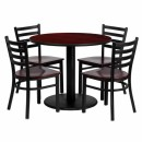 Flash Furniture 36'' Round Mahogany Laminate Table Set with 4 Ladder Back Metal Chairs - Mahogany Wood Seat [MD-0004-GG] width=