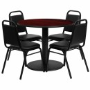 Flash Furniture 36'' Round Mahogany Laminate Table Set with 4 Black Trapezoidal Back Banquet Chairs [RSRB1002-GG] width=