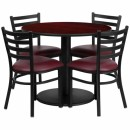 Flash Furniture 36'' Round Mahogany Laminate Table Set with 4 Ladder Back Metal Chairs - Burgundy Vinyl Seat [RSRB1006-GG] width=