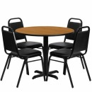Flash Furniture 36'' Round Natural Laminate Table Set with 4 Black Trapezoidal Back Banquet Chairs [HDBF1003-GG] width=