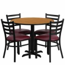 Flash Furniture 36'' Round Natural Laminate Table Set with 4 Ladder Back Metal Chairs - Burgundy Vinyl Seat [HDBF1007-GG] width=