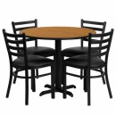 Flash Furniture 36'' Round Natural Laminate Table Set with 4 Ladder Back Metal Chairs - Black Vinyl Seat [HDBF1031-GG] width=