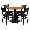 Flash Furniture 36'' Round Natural Laminate Table Set with 4 Grid Back Metal Chairs - Black Vinyl Seat [MD-0006-GG] width=
