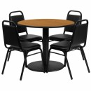 Flash Furniture 36'' Round Natural Laminate Table Set with 4 Black Trapezoidal Back Banquet Chairs [RSRB1003-GG] width=