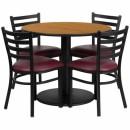 Flash Furniture 36'' Round Natural Laminate Table Set with 4 Ladder Back Metal Chairs - Burgundy Vinyl Seat [RSRB1007-GG] width=