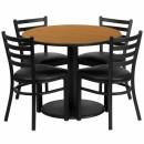 Flash Furniture 36'' Round Natural Laminate Table Set with 4 Ladder Back Metal Chairs - Black Vinyl Seat [RSRB1031-GG] width=