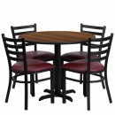 Flash Furniture 36'' Round Walnut Laminate Table Set with 4 Ladder Back Metal Chairs - Burgundy Vinyl Seat [HDBF1008-GG] width=