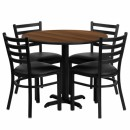 Flash Furniture 36'' Round Walnut Laminate Table Set with 4 Ladder Back Metal Chairs - Black Vinyl Seat [HDBF1032-GG] width=