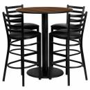 Flash Furniture 36'' Round Walnut Laminate Table Set with 4 Ladder Back Metal Bar Stools - Black Vinyl Seat [MD-0011-GG] width=