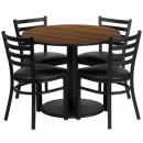 Flash Furniture 36'' Round Walnut Laminate Table Set with 4 Ladder Back Metal Chairs - Black Vinyl Seat [RSRB1032-GG] width=