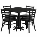 Flash Furniture 36'' Square Black Laminate Table Set with 4 Ladder Back Metal Chairs - Black Vinyl Seat [HDBF1013-GG] width=