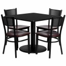 Flash Furniture 36'' Square Black Laminate Table Set with 4 Grid Back Metal Chairs - Mahogany Wood Seat [MD-0008-GG] width=