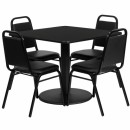 Flash Furniture 36'' Square Black Laminate Table Set with 4 Black Trapezoidal Back Banquet Chairs [RSRB1009-GG] width=