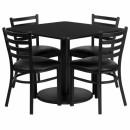 Flash Furniture 36'' Square Black Laminate Table Set with 4 Ladder Back Metal Chairs - Black Vinyl Seat [RSRB1013-GG] width=