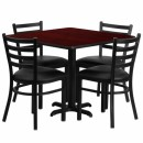 Flash Furniture 36'' Square Mahogany Laminate Table Set with 4 Ladder Back Metal Chairs - Black Vinyl Seat [HDBF1014-GG] width=
