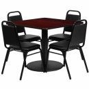 Flash Furniture 36'' Square Mahogany Laminate Table Set with 4 Black Trapezoidal Back Banquet Chairs [RSRB1010-GG] width=