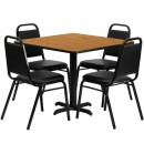 Flash Furniture 36'' Square Natural Laminate Table Set with 4 Black Trapezoidal Back Banquet Chairs [HDBF1011-GG] width=