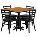 Flash Furniture 36'' Square Natural Laminate Table Set with 4 Ladder Back Metal Chairs - Black Vinyl Seat [HDBF1015-GG] width=