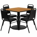 Flash Furniture 36'' Square Natural Laminate Table Set with 4 Black Trapezoidal Back Banquet Chairs [RSRB1011-GG] width=