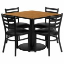 Flash Furniture 36'' Square Natural Laminate Table Set with 4 Ladder Back Metal Chairs - Black Vinyl Seat [RSRB1015-GG] width=