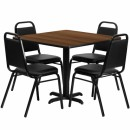 Flash Furniture 36'' Square Walnut Laminate Table Set with 4 Black Trapezoidal Back Banquet Chairs [HDBF1012-GG] width=