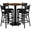 Flash Furniture 36'' Square Walnut Laminate Table Set with 4 Grid Back Metal Bar Stools - Black Vinyl Seat [MD-0015-GG] width=