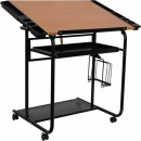 Flash Furniture  Adjustable Drawing and Drafting Table with Black Frame and Dual Wheel Casters [NAN-JN-2739-GG] width=