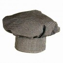 Black & White Check Chef Hat - Velcro Closure - 13'' Tall Permanent Press 65/35 Poly/Cotton Blend width=