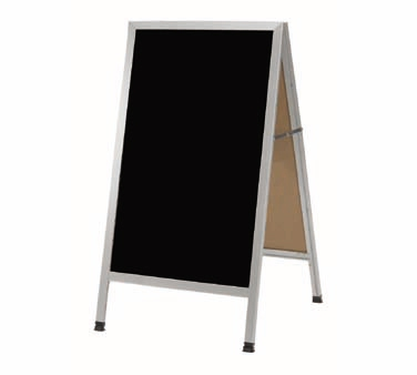 """Aarco AA-11 A-Frame Sidewalk Board with Black Melamine Markerboard and Aluminum Frame 42""""x24"""""""