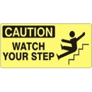 Caution - Watch Your Step (Man & Steps Picto) [5X12 Vinyl Press On] width=