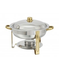 Winco 203 Malibu Round Chafer with Gold Accents 4 Qt.