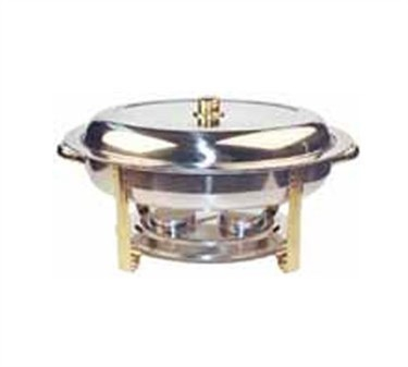 Winco 202 Malibu Oval Chafer with Gold Accents 6 Qt.