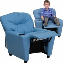 Flash Furniture Contemporary Light Blue Vinyl Kids Recliner with Cup Holder [BT-7950-KID-LTBLUE-GG] width=