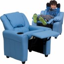 Flash Furniture Contemporary Light Blue Vinyl Kids Recliner with Cup Holder and Headrest [DG-ULT-KID-LTBLUE-GG] width=