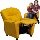 Flash Furniture Contemporary Yellow Vinyl Kids Recliner with Cup Holder [BT-7950-KID-YEL-GG] width=