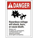Danger (Picto) Hazardous Voltage Will Shock Burn Or Cause Death. Keep Out If Open Or Unlocked width=