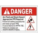 Danger Arch Flash And Shock Hazard Appropriate Ppe Required Follow All Safety Procedures And Wear width=