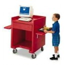 Equipment Stand Only, 28''W X 28''D X (W/Casters) 39''H, Hot Red, Nsf width=