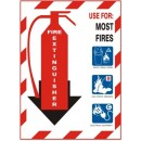 Fire Extinguisher Use For: Most Fires (Pict. Abc) [10X7 Vinyl Press On] width=