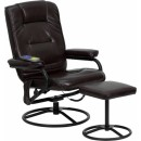 Flash Furniture Massaging Brown Leather Recliner and Ottoman with Metal Bases [BT-703-MASS-BN-GG] width=