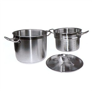 Winco SSDB-20S Master Cook Stainless Steel Steamer / Pasta Cooker with Cover 20 Qt