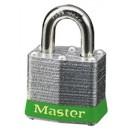 Master Lock # 3 --Individually Keyed-- Green Bumper (3/4 Shackle) Individually Keyed Laminated width=