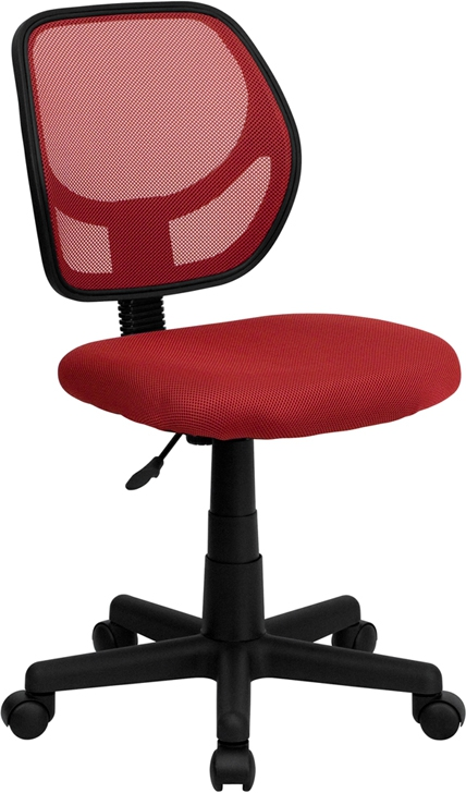 Flash Furniture Mid Back Red Mesh Task Chair And Computer