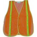 Orange Mesh Vest With 3/4 Lime Reflective Stripe - Meets Ansi 107-2004 Class 1 Standards width=