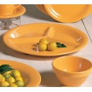 Thunder Group CR710YW Yellow Melamine 3-Compartment Plate, 10-1/4