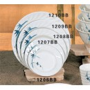 Thunder Group 1206BB Blue Bamboo Curved Rim Round Plate 6